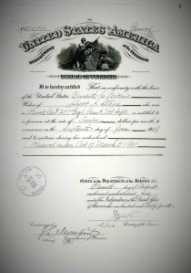 Elizabeth Civil War Widows Pension Certificate 1909