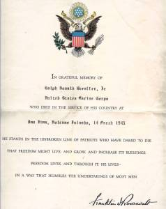 Official condolence letter from President Roosevelt WWII