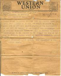 Western Union Telegram sent to Ralph D Sheaffer Family WWII