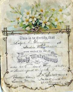 Ralph & Sadie Wedding Certificate