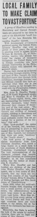1938 Sheaffer claim on Garret Estate