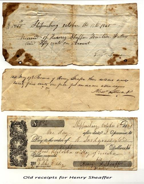 Henry Sheaffer Receipts
