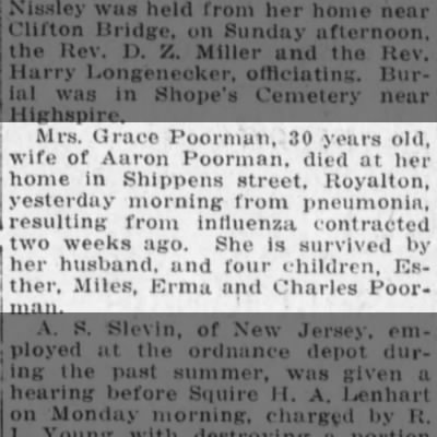 grace-poorman-obituary-harrisburg-telegraph-10-dec-1918-tues-1st-edition